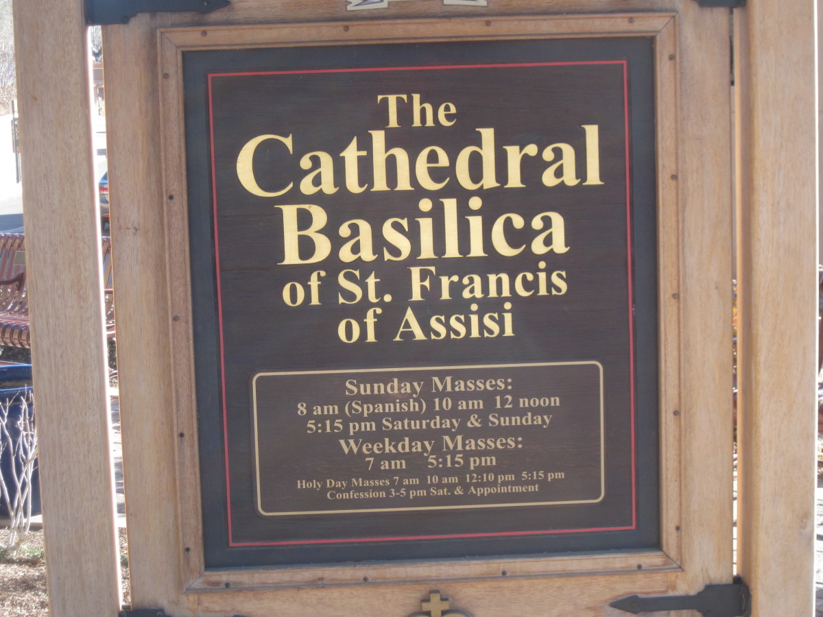 Sign Outside the Cathedral Basilica of Saint Francis Of Assisi