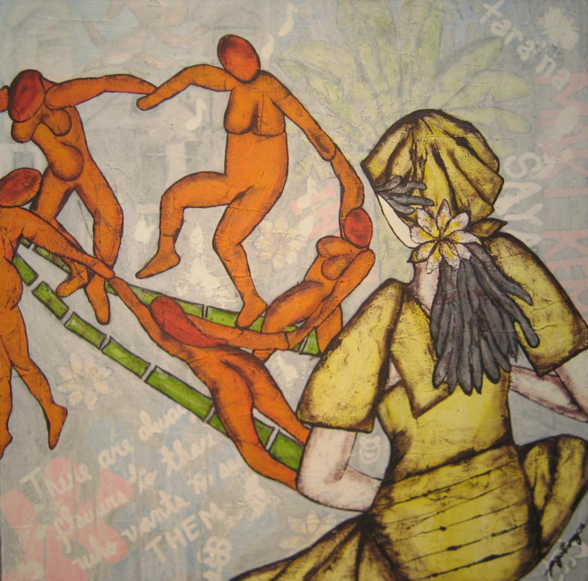 Tinikling with Manong Matisse, 100 x 100 cm