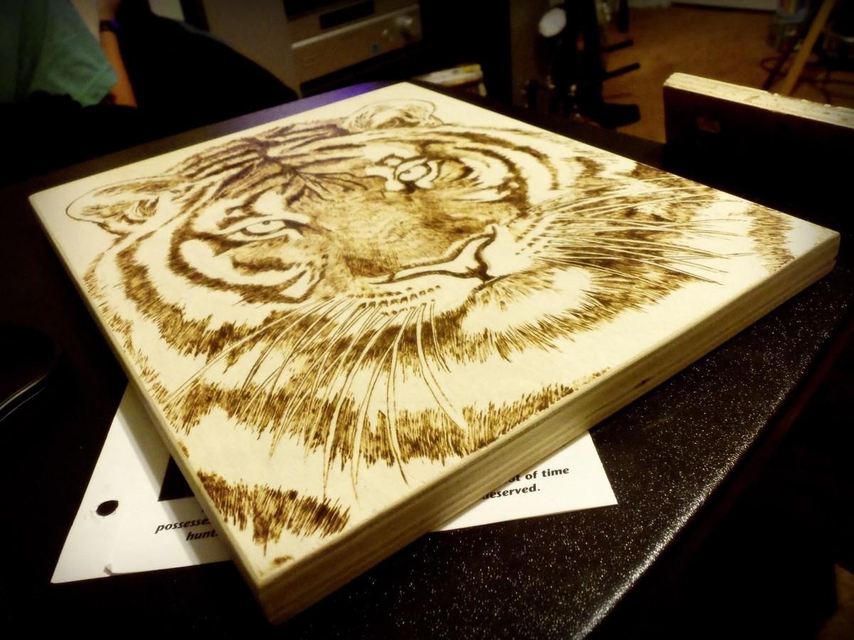 A tiger wood burning piece I did.