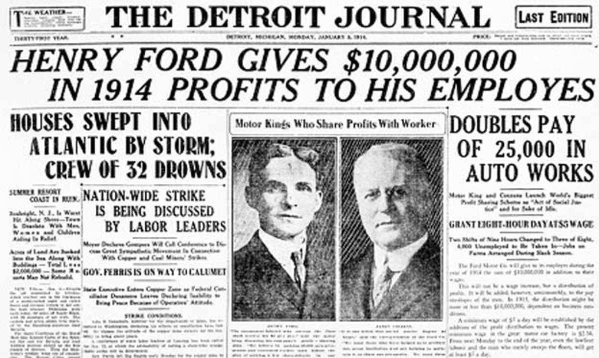 Newspaper Article On The $5 Day Introduced By Henry Ford