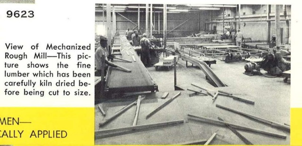 Workers at the Curtis Mathes plants in 1960 in Athens, Houston, Fort Worth, and Dallas Texas back when we made our own stuff here in the USA. View of the Mechanized Rough Mill at the Fort Worth Curtis Mathes plant. This picture shows the fine lumber