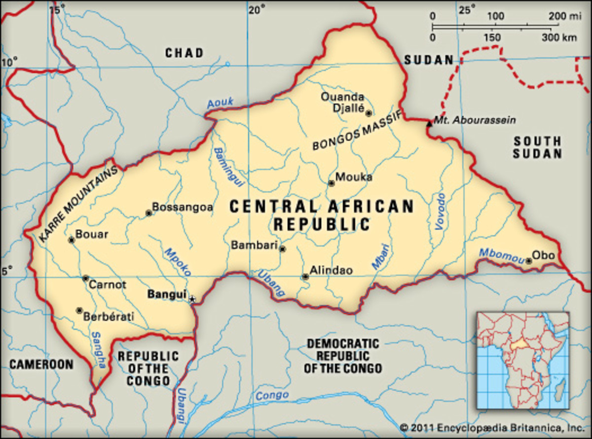 Map of Central Africa Republic