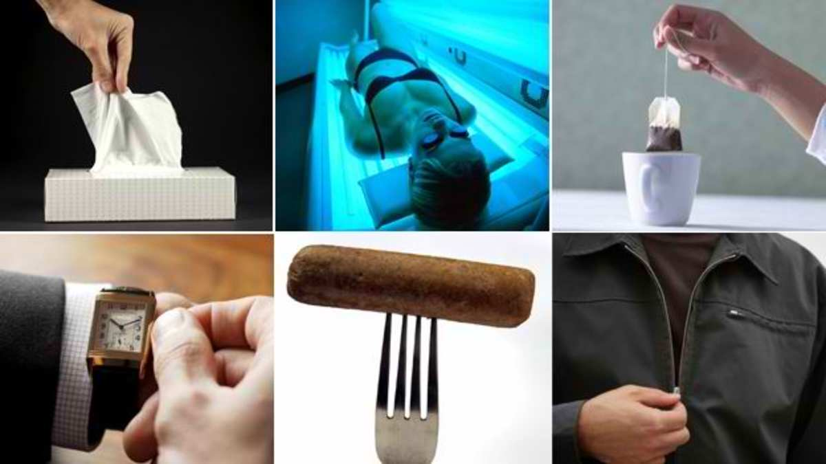 From bottom right: zipper, vegan sausage, wristwatch, tissue, sun lamp and tea bags...