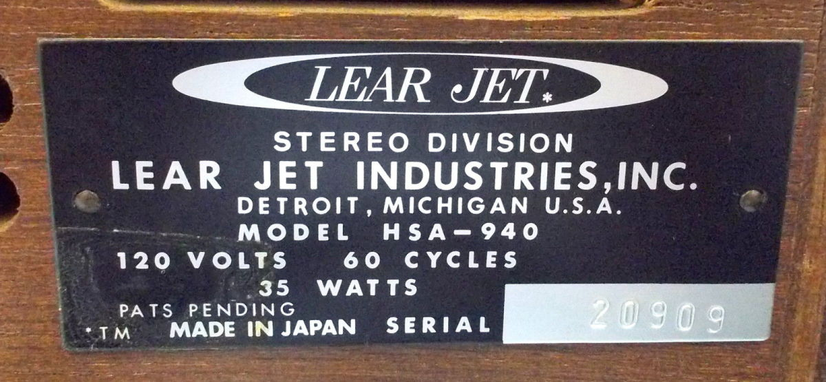 Lear Jet Industries, Stereo System, Avionic Instrumentation, Executive and Airline Jet Aircraft, Stereo Division, 13131 Lyndon Avenue, Detroit Michigan. Lear Jet Stereo 8 the first and finest 8 - track tape cartridges and players.