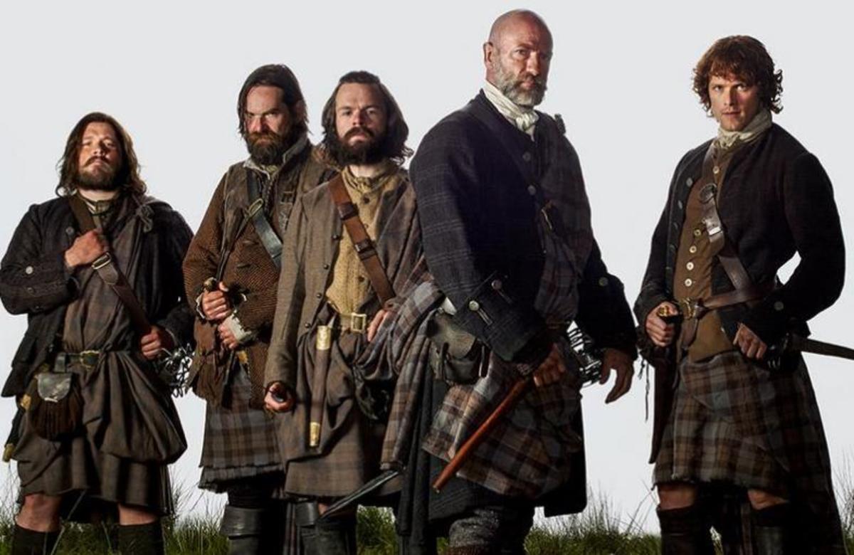The Scottish men of Outlander:  Rupert MacKenzie (Grant O'Rourke)  Murtagh Fraser (Duncan Lacroix)  Anghus Mhor (Stephen Walters)  Dougal MacKenzie (Graham McTavish) and Jamie Fraser (Sam Heughan)