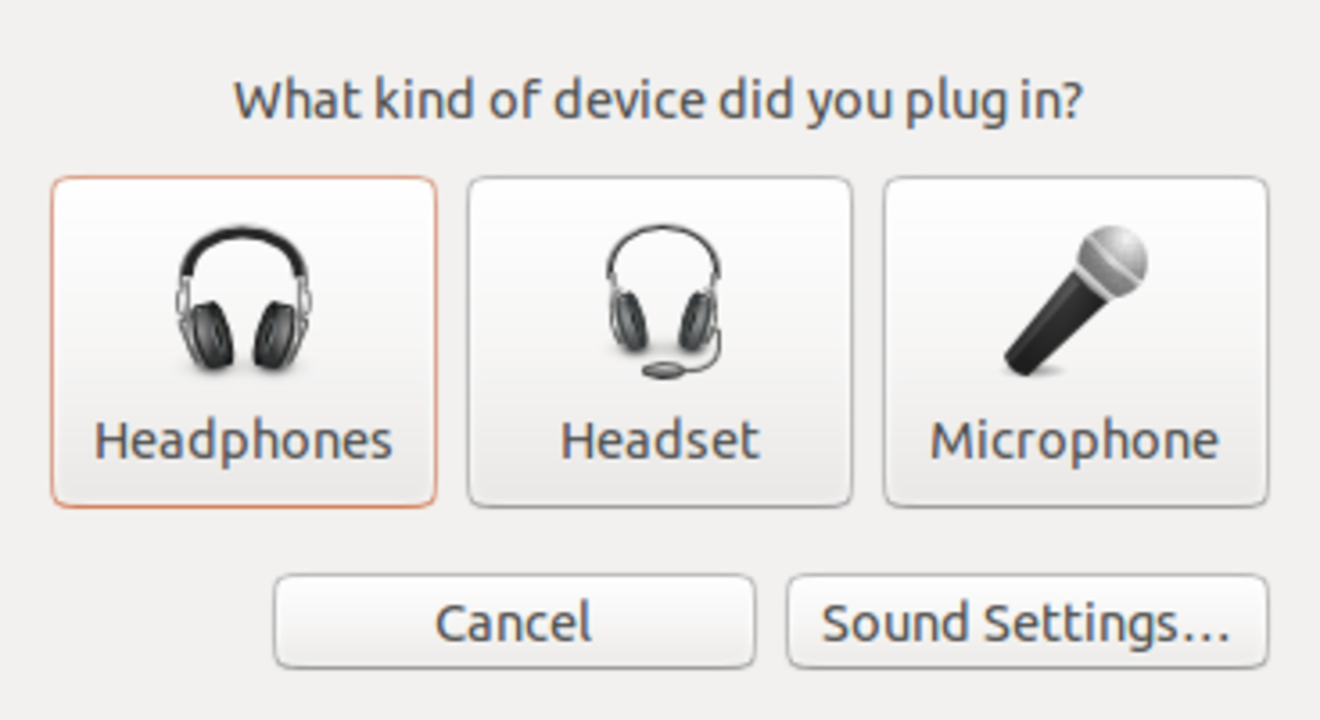 Dialog that shows up when audio device is plugged in