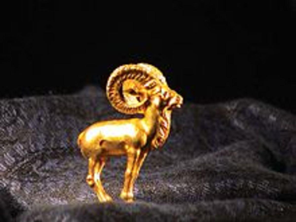A ram figurine found in the hoard.