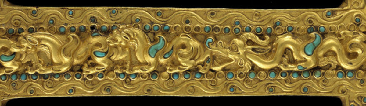 A first century sleeve decorated with a scene of animals in combat, measuring 23.5 x 9cm, from a tomb in Tillia Tepe, Afghanistan, provided by The Afghanistan National Museum, is pictured at the 'Afghanistan, Rediscovered Treasures' exhibition at Mus