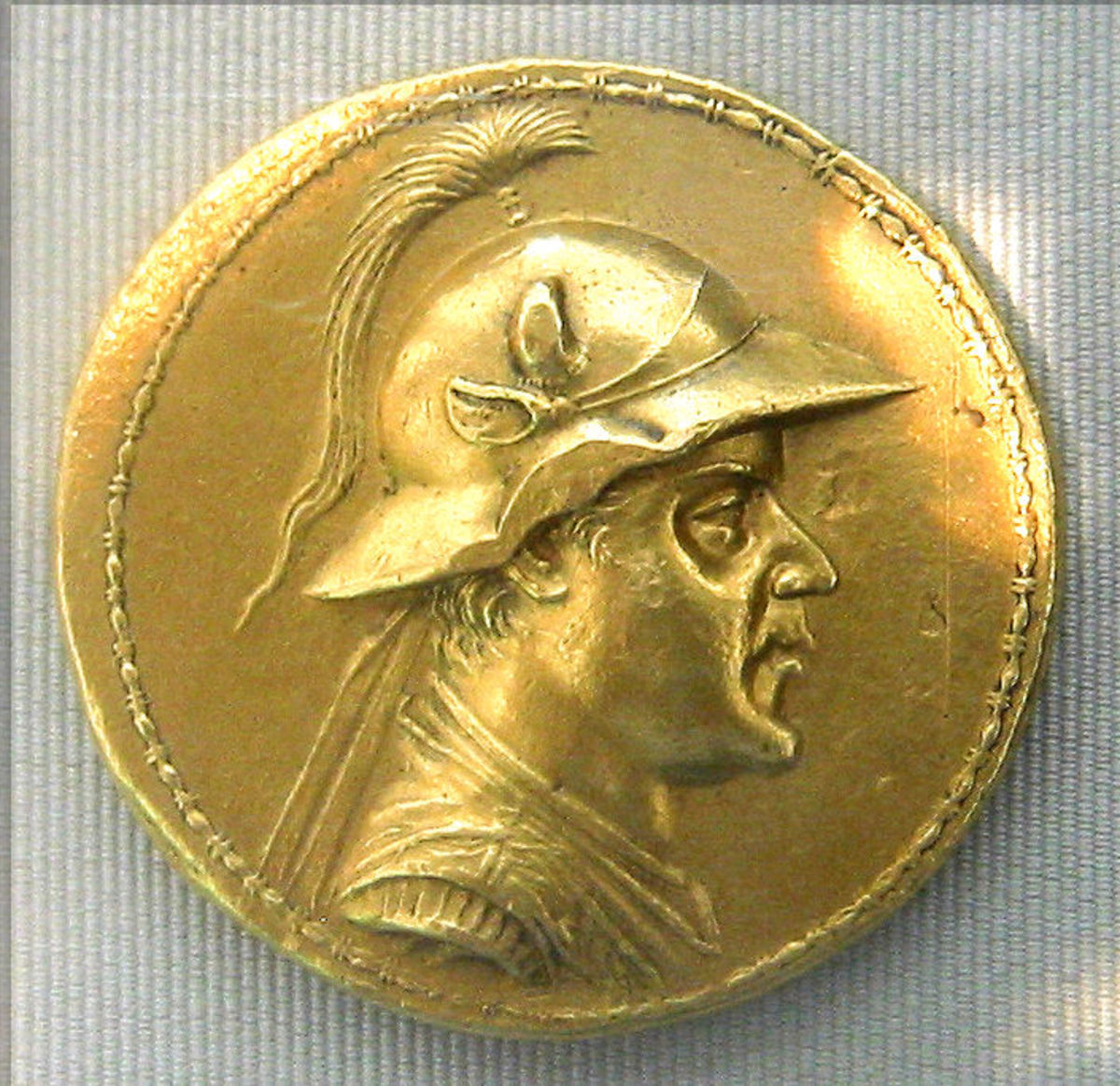 Gold stater of the Greco-Bactrian king Eucratides, the largest gold coin of the Ancient World.