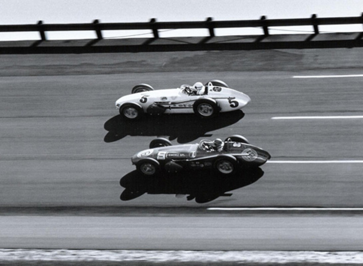 Jim Rathman duels with Roger Ward (#5) at Daytona International Speedway in 1959