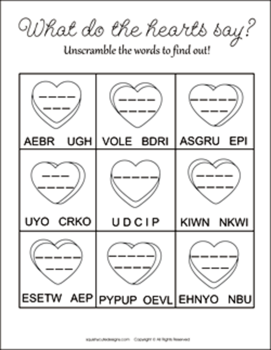 What do these hearts say?  Unscramble the words to find out!