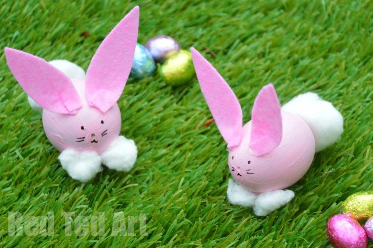 Dyed eggs take on a whole new meaning when you add some bunny ears, bunny feet, and googly eyes@