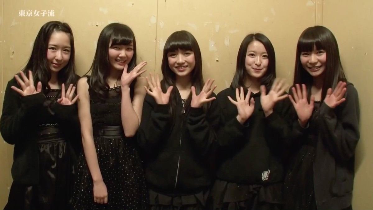 From left to right: Ayano Konishi, Miyu Yamabe, Hitomi Arai, Yuri Nakae, and Mei Shyoji, their new leader as of 2014.