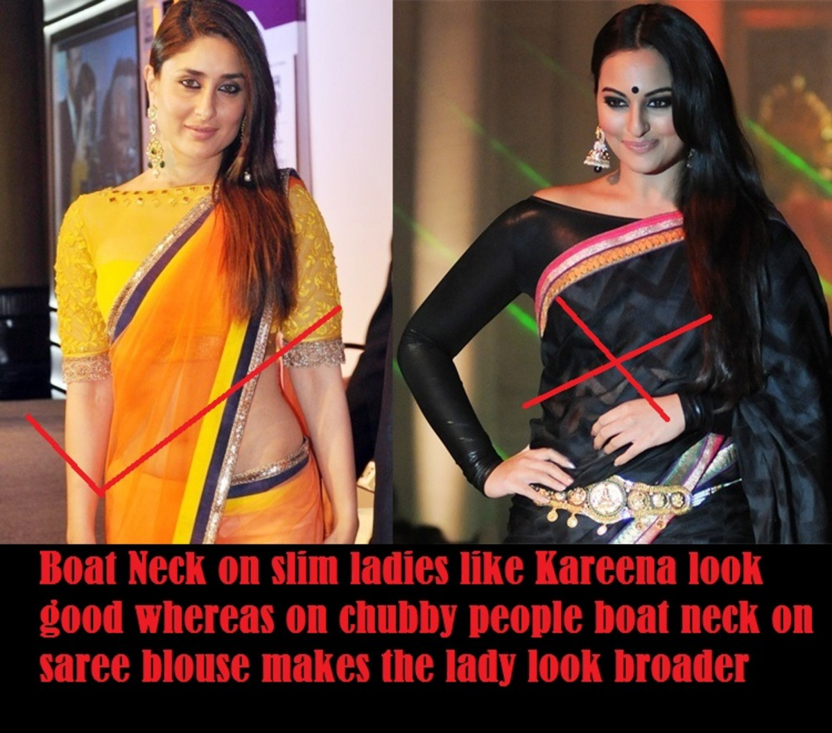 Boat neck on saree blouse to be avoided by fat women if they want to look slim