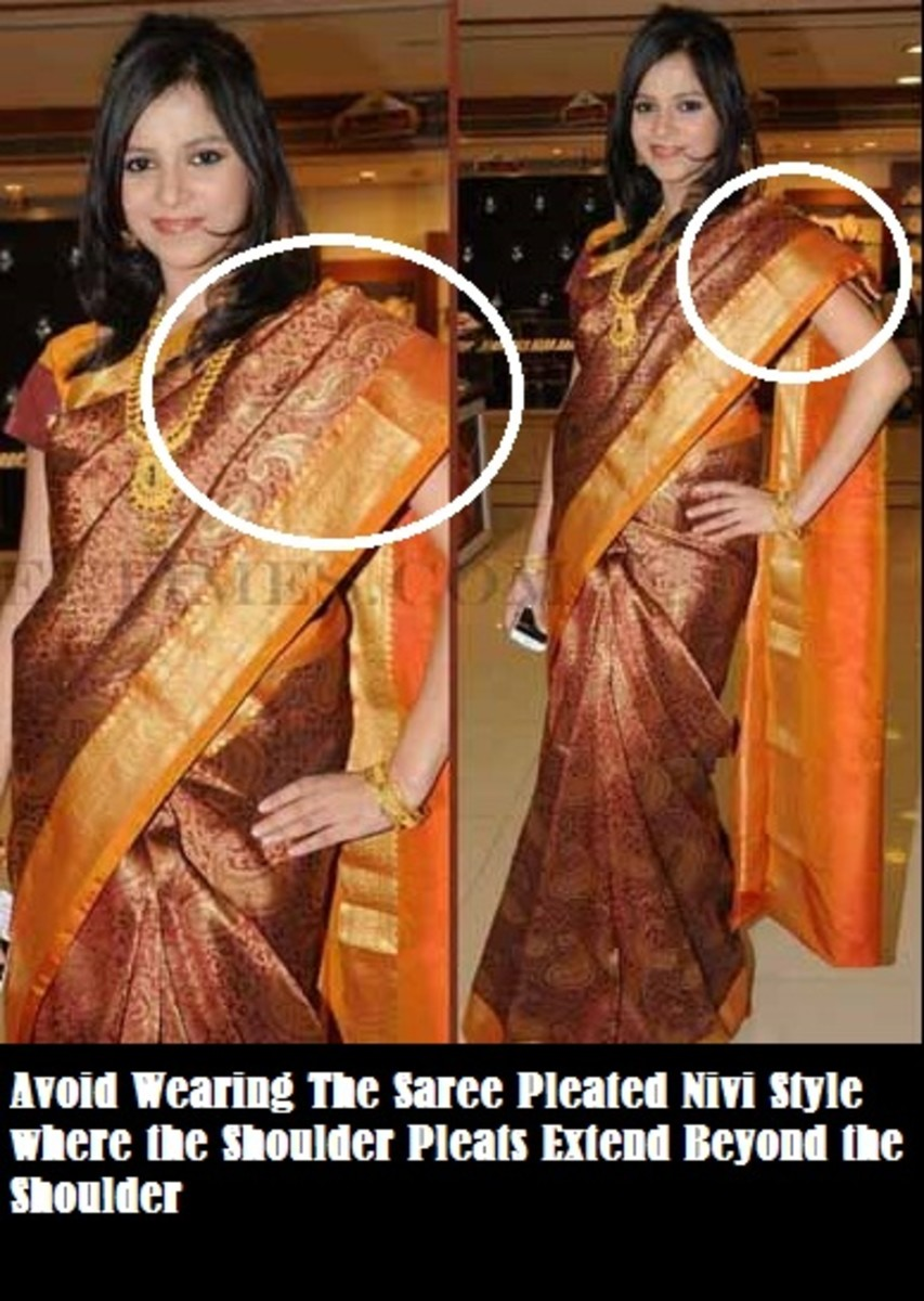 This is the wrong way to wear the saree pallu nivi style as this makes the shoulder look broad and ads weight to the overall image of the saree wearing lady