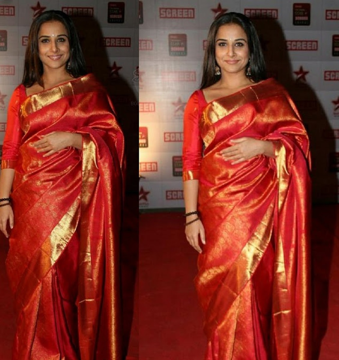 Look how the fluffy kanjivaram silk katan saree does not drape nicely around Vidya making her look fatter than she actually is.