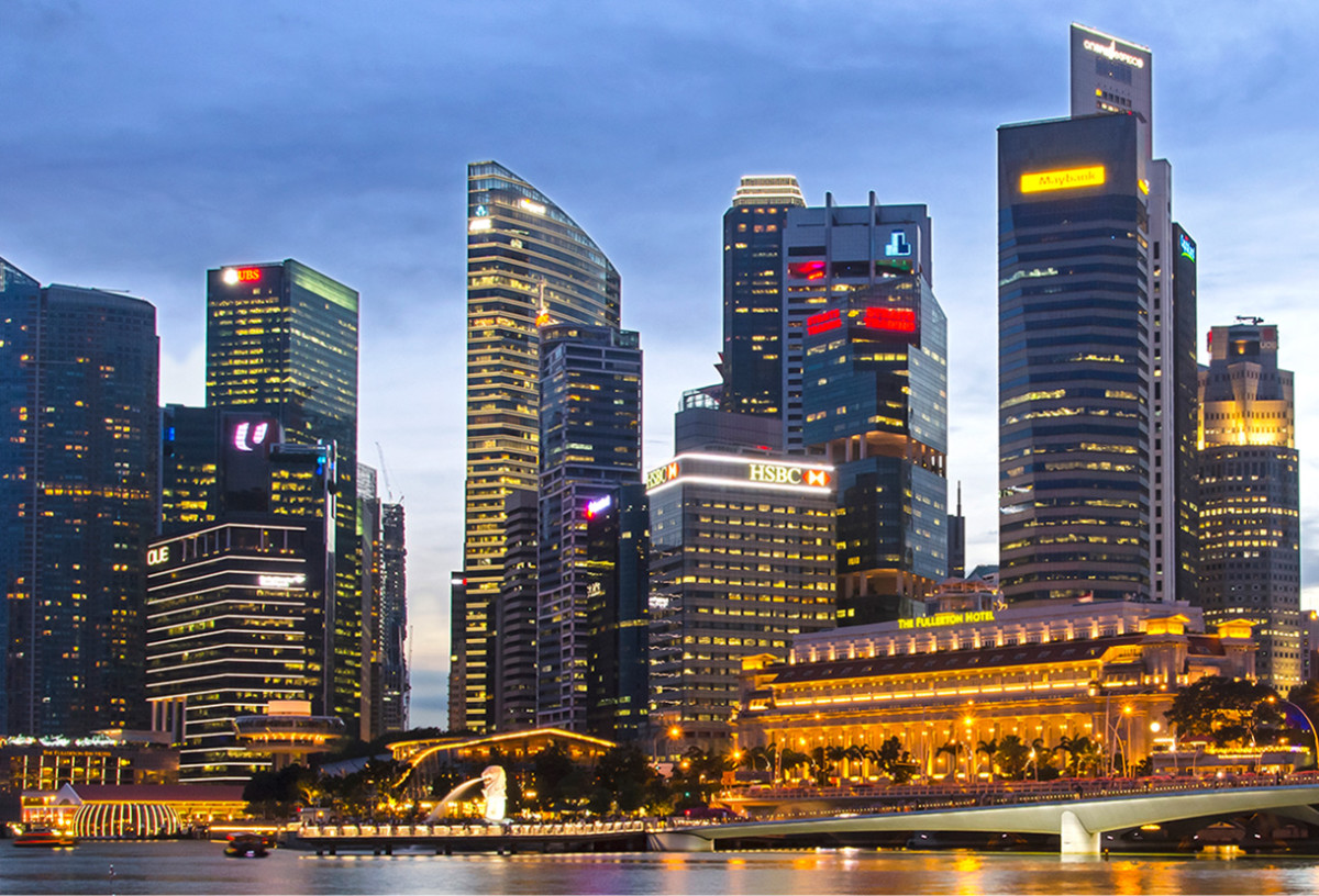 A closer view of the Singapore Skyline during early evening.