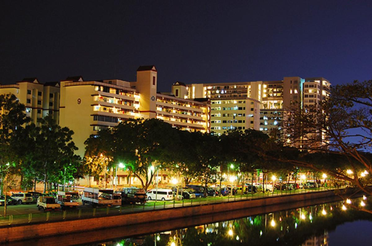 Singaporean Public housing, known locally as HDB blocks.