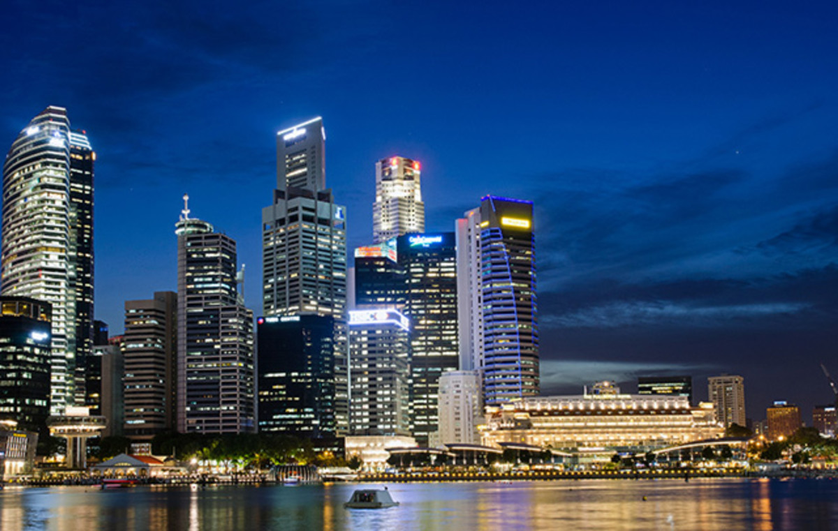 The Singapore Skyline. Arguably the most spectacular night time panorama in Singapore.
