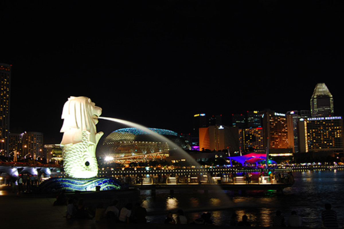 The Merlion. The illuminated version is considered by some to be a symbol of nights in Singapore.