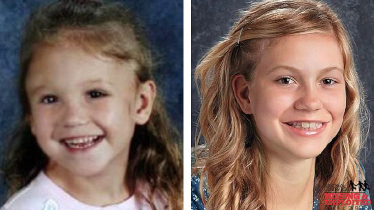 Haleigh Cummings age 6 (left) and age-progressed to 14 years