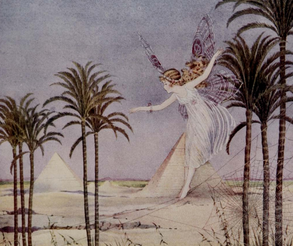 """Here we show a portion of 'For centuries the Pyramids alone remained a witness of the Glory of Egypt' - it is from Ida Rentoul Outhwaite's suite published in """"The Sentry and the Shell Fairy"""" (1924)."""