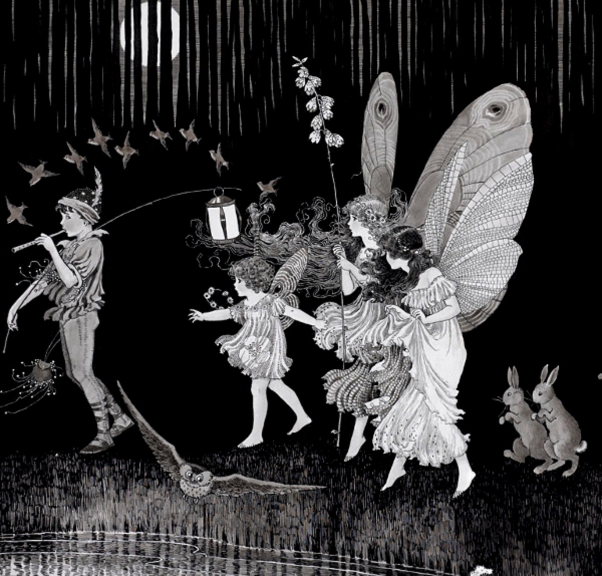 "Here we show a portion of 'Jack O'Lantern' - it is from Ida Rentoul Outhwaite's suite published in ""Elves and Fairies"" (1916)."