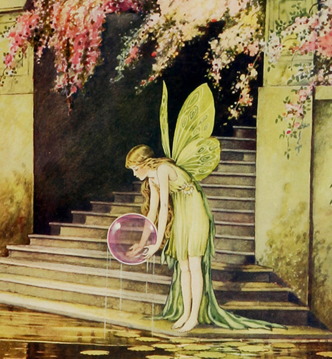 "Here we show a portion of 'The Crystal Gazer' - it is from Ida Rentoul Outhwaite's suite published in ""Fairyland"" (1926)."