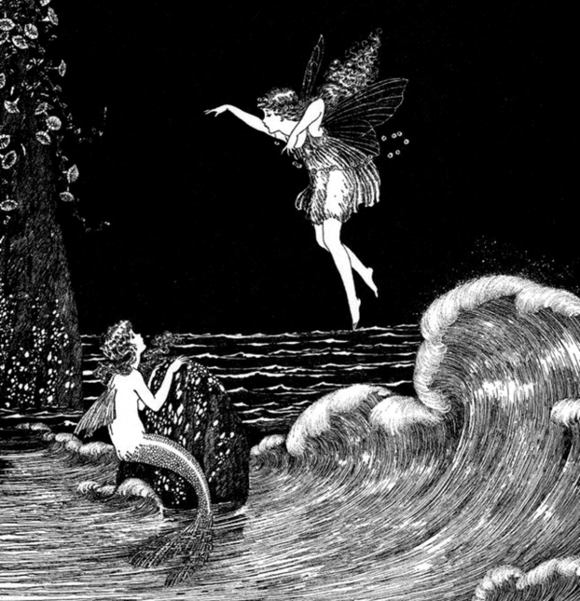 """Here we show a portion of 'Little Fairy Sisters' - it is from Ida Rentoul Outhwaite's suite published in """"Fairyland"""" (1926)."""