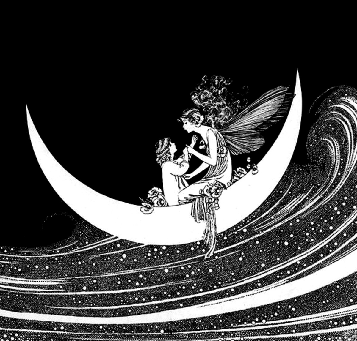 """Here we show a portion of 'Anne rides on the Heavenly River' - it is from Ida Rentoul Outhwaite's suite published in """"The Enchanted Forest"""" (1921)."""