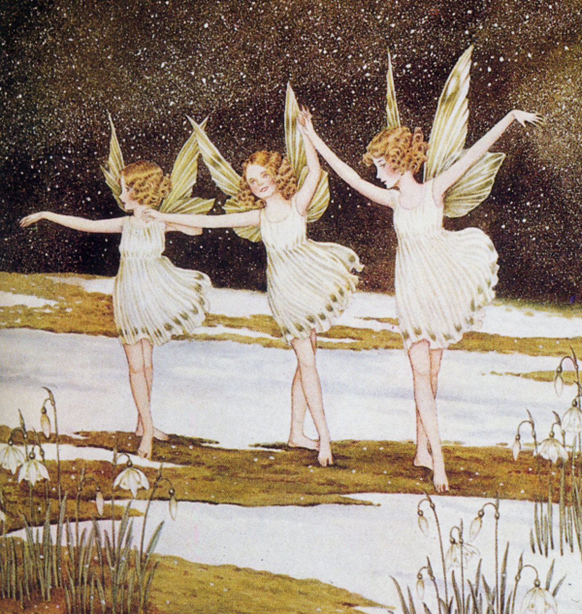 "Here we show a portion of 'In and out among the snowdrops Fairies were dancing' - it is from Ida Rentoul Outhwaite's suite published in ""Bunny and Brownie: The Adventures of George and Wiggle"" (1930)."