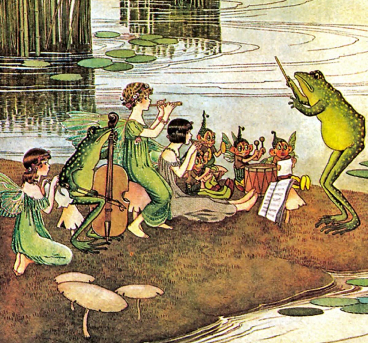 """Here we show a portion of 'The Jazz Band' - it is from Ida Rentoul Outhwaite's suite published in """"The Enchanted Forest"""" (1921)."""