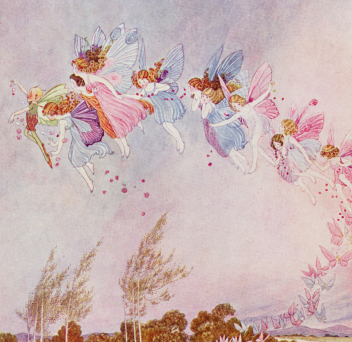 "Here we show a portion of 'The farthest ones looked like great butterflies' - it is from Ida Rentoul Outhwaite's suite published in ""The Little Fairy Sister"" (1923)."
