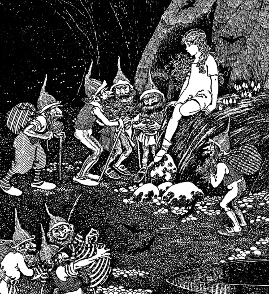 "Here we show a portion of 'Keep her in our cavern for our Queen!' - it is from Ida Rentoul Outhwaite's suite published in ""The Little Green Road to Fairyland"" (1922)."