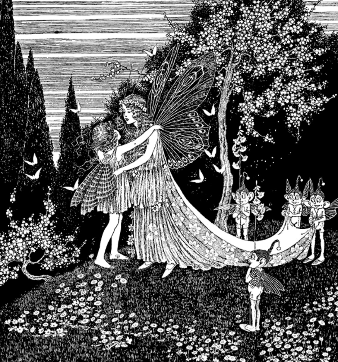 "Here we show a portion of 'Nancy ran right into the arms of the Fairy Queen' - it is from Ida Rentoul Outhwaite's suite published in ""The Little Fairy Sister"" (1923)."