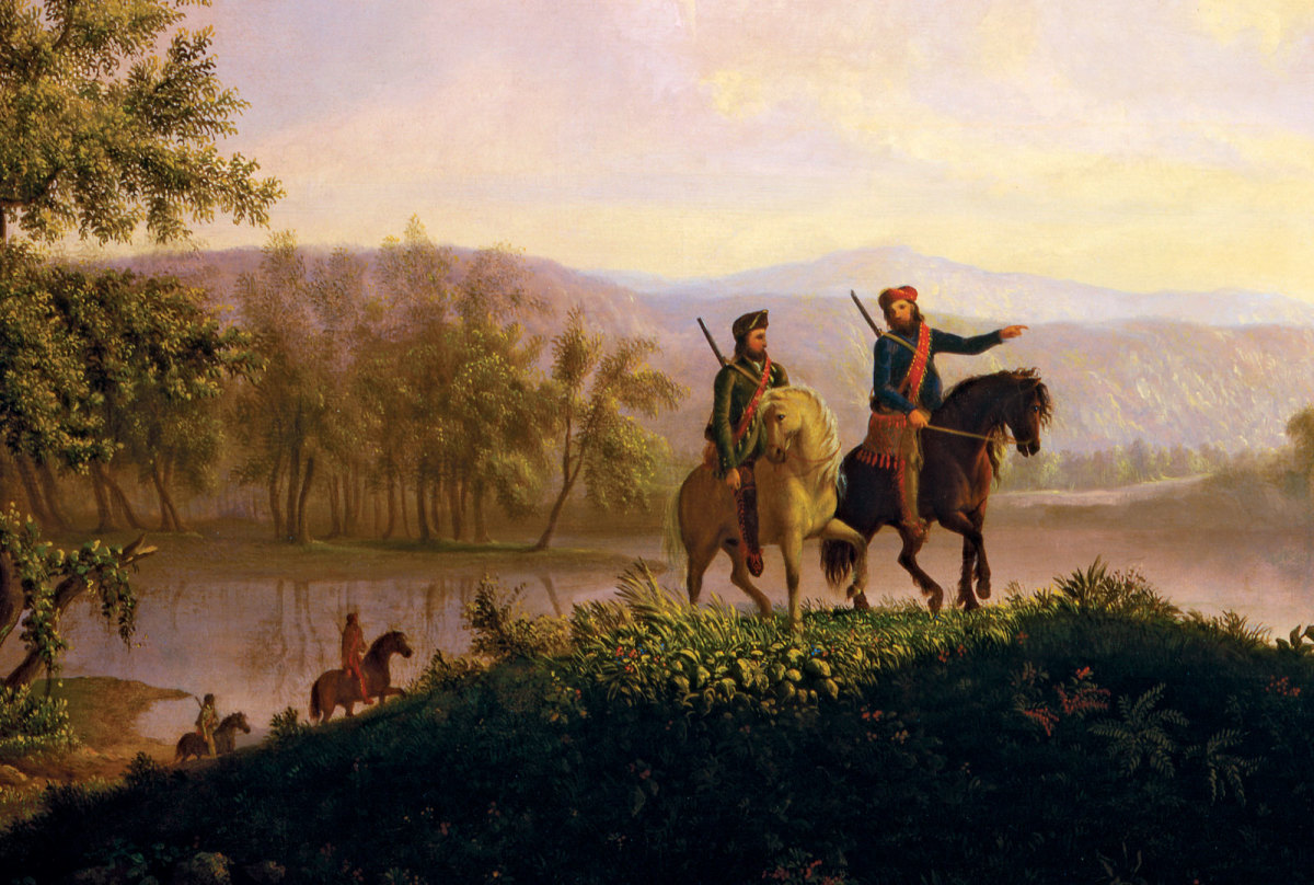 Lewis and Clark, in a 1850 painting by Thomas Burnham (1850) depicts the two explorers traveling safely through a pristine wilderness.