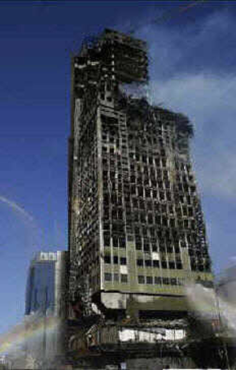 This is how a Steel Framed Building looks after its been consumed by flames,.