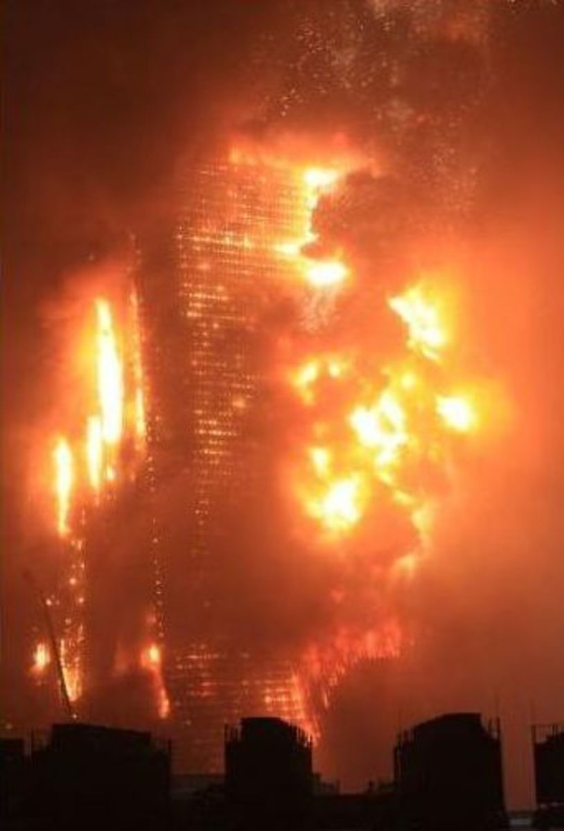 This is the Beijing Mandarin Oriental fire in China, shown engulfed in flames.