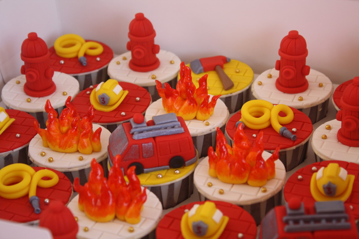 Fire engine themed cupcakes