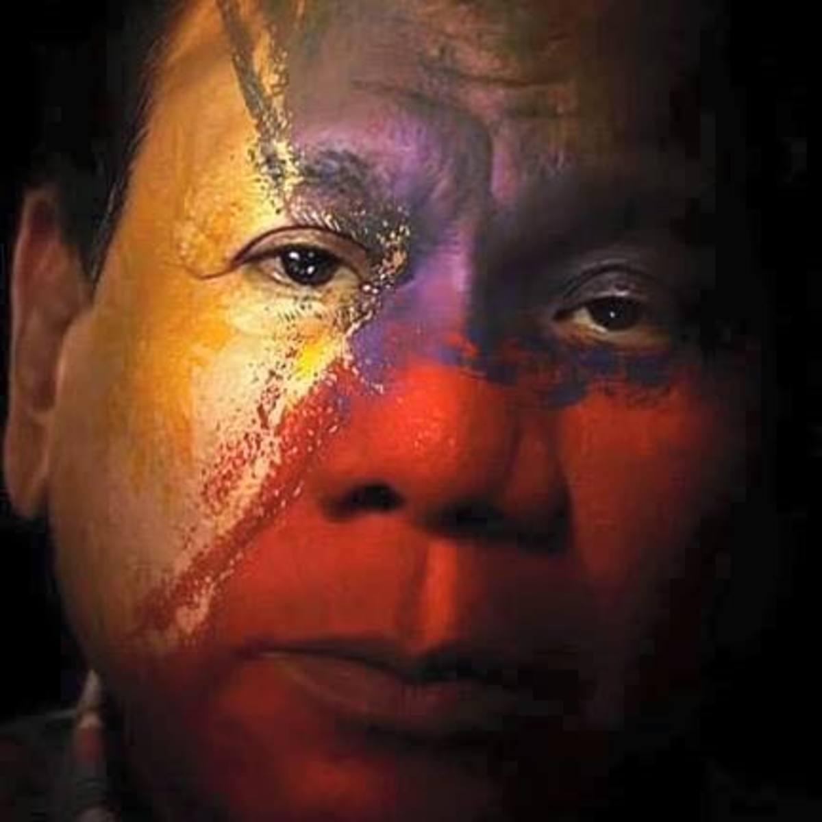 The Philippine Flag overlays President Duterte's face in this digital art presentation