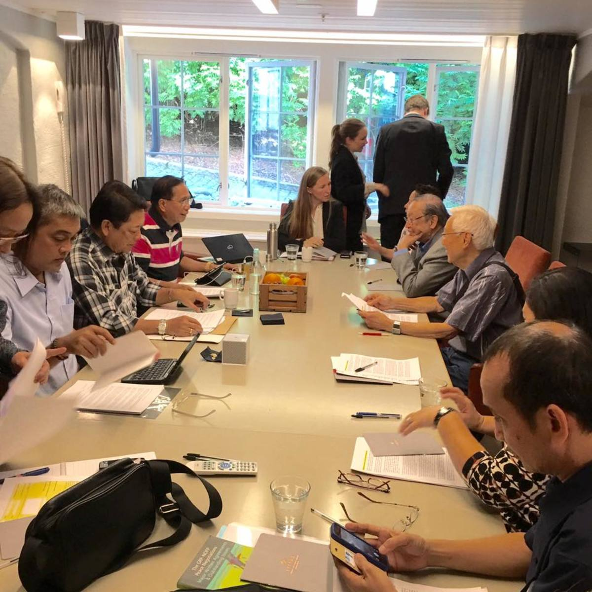 The Duterte Peace Negotiating team talks with the leaders of the Communist Party of the Philippines-New People's Army-National Democratic Front in Oslo, Norway on June 15, 2016.