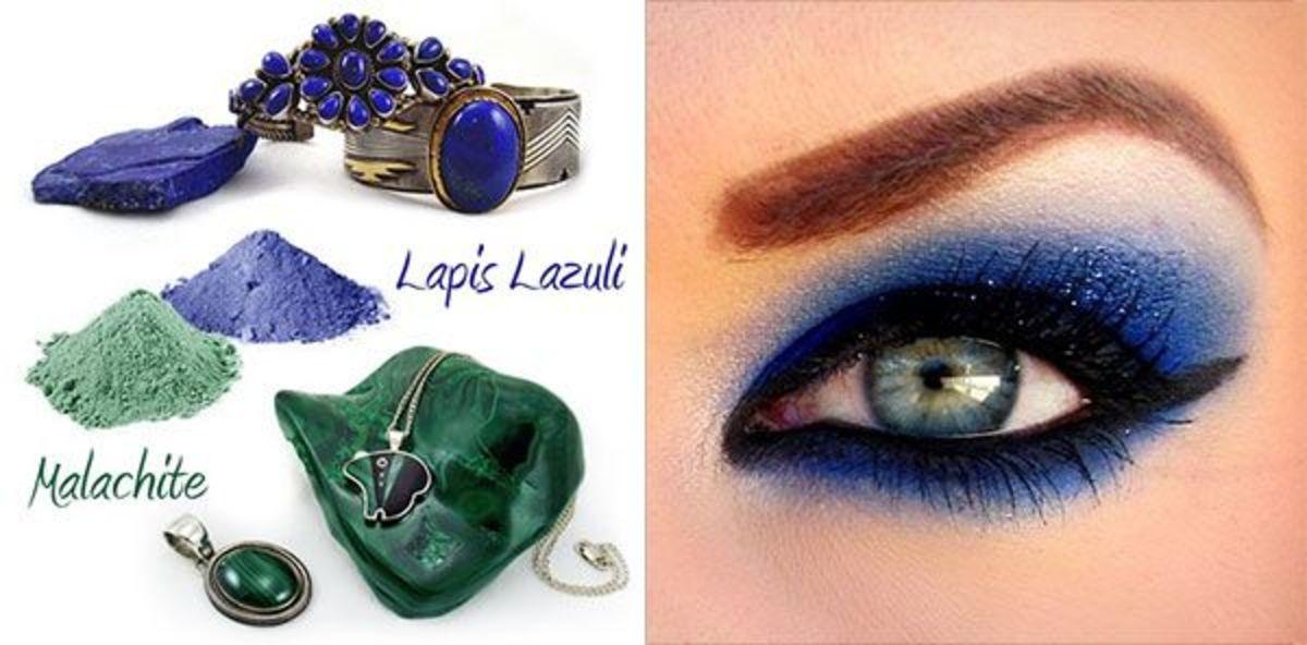 Lapis Lazuli and Malachite eye shadow
