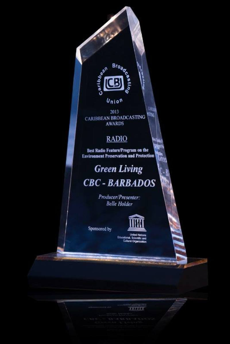 Belle Holder's award from the Caribbean Broadcasting Union on Radio for the show, 'Green Living'.