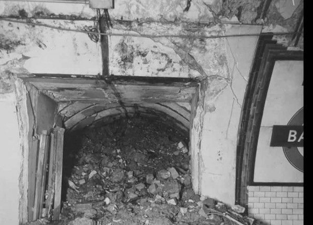 Cross passage at Balham station after the bomb