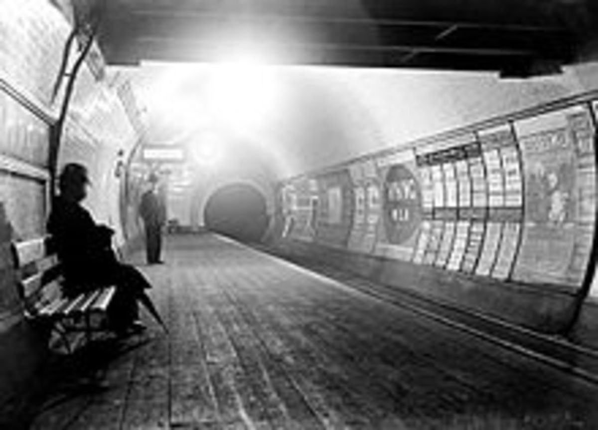 Early photo of platform at Queensway station