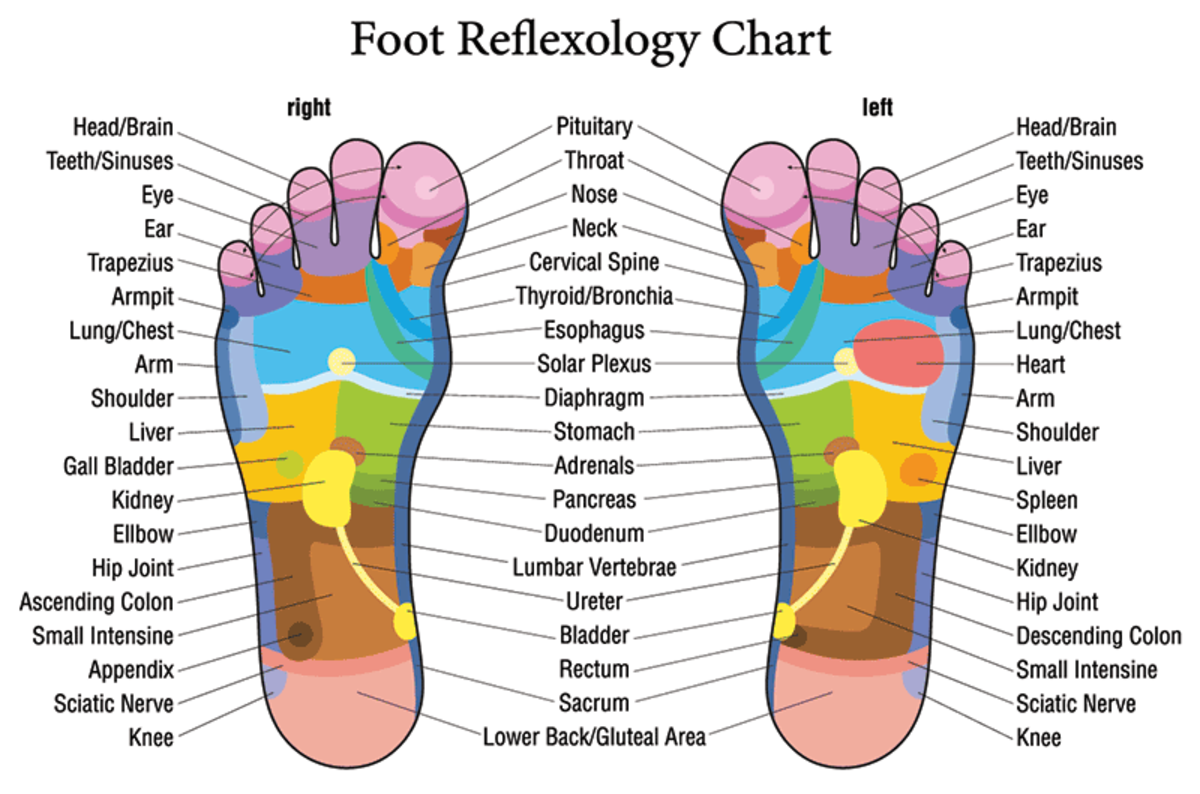 Acupressure points in sole of the foot