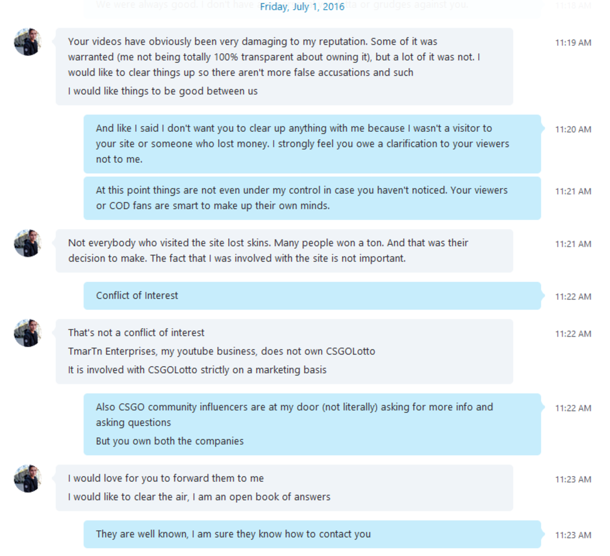 "HonorTheCall sent me all the Skype Chat Logs he had with Tmartn, for a man who claims he's an ""Open book of answers"" he sure did block me on Twitter!"