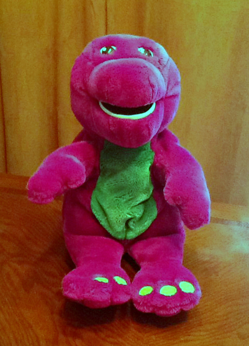 BARNEY the Dinosaur 1997 Talking Interactive Plush ActiMates Microsoft ... This company developed the amazing ActiMates system for this plush Barney Doll. This was in conjunction with the help of many early learning specialists & had amazing experts.