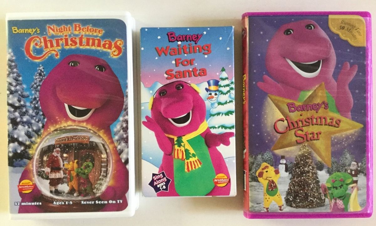 Here are three amazing Barney Christmas VHS videos, Waiting For Santa, Barney's Night Before Christmas, Star