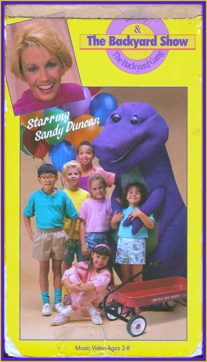 """Barney """"The Backyard Show"""" was his first appearance. This features Sandy Duncan as Mom to Amy and Michael, who along with their neighborhood friends and a dinosaur who magically comes to life plane a lively surprise birthday show for their Daddy."""